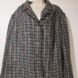Sag Harbor Plus Size Blazer 24W Lined Green Tweed
